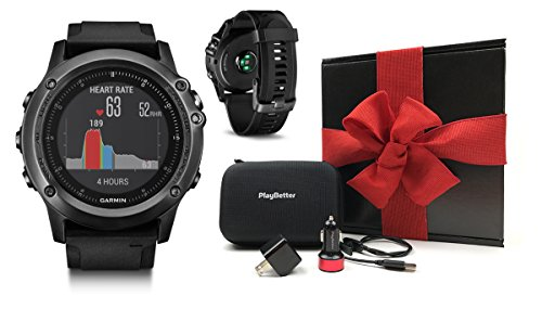 Garmin fenix 3 HR Gift Box Bundle | Includes Multi-Sport GPS Fitness Watch (On-Wrist HR), PlayBetter USB Car & Wall Adapter & Hard GPS Case | Black Gift Box with Red Bow & Crinkle Paper