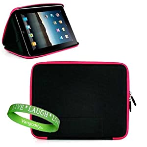Apple Ipad ( 3G , wifi , WiFi + 3G ) Snug Carrying Case Hard Cube Case Cover, Designed to double as iPad Stand For ultimate viewing convenience ** Black with Pink Trim ** + Vangoddy Live * Laugh * Love Wrist band