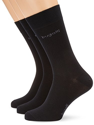 bugatti-herren-socke-3-er-pack-6703-bugatti-smooth-cotton-gr-43-46-schwarz-610-black