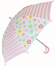Foxfire for Kids Girls Posies and Stripe Umbrella Pink