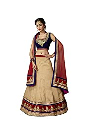 Beige Net And Georgette Lehenga Choli