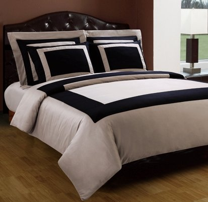 10-PC Taupe & Black California King size Hotel Down Alternative Bed in a bag Comforter set