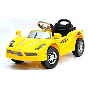 Yellow Kids Ride on Ferrari Enzo-Style Car With Remote Control for Children 2-7 ALSO COMES IN RED AND PINK