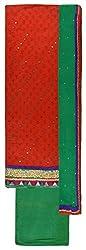 Sanskriti Women's Chanderi Silk Unstitched Dress Material (Red and Green)