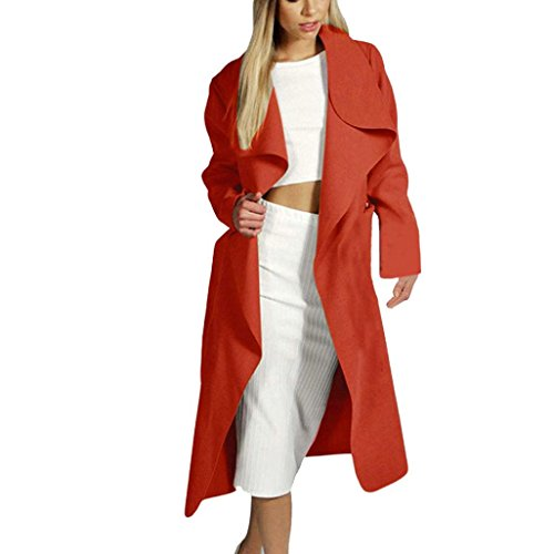 FEITONG outwear giacca a vento donna sottile lungo cappotto giacca trench cardigan (M, Rosso)