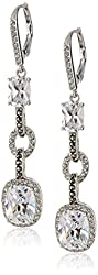 """Judith Jack """"Radiance"""" Sterling Silver Crystal and Cubic Zirconia Faceted Linear Drop Earrings"""