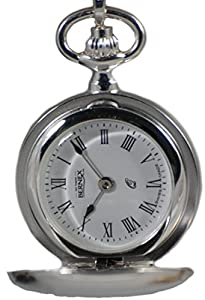 Bernex Swiss Made Sterling Silver Ladies Pendant Watch + Chain(Full Hunter Polished)
