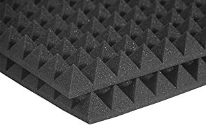 Auralex Studiofoam Pyramid 2 Inches Thick and 4 Feet by 2 Feet Acoustic Absorption Panels, Charcoal (12 Panels)