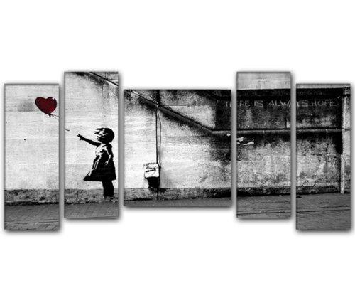5 quadri moderni su tela banksy 50 20 50 20 pronti da for Appendere quadri ikea