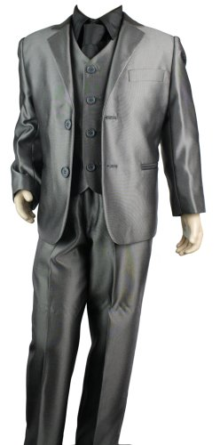 Boys Kids 3 Piece Shiny Light Grey Suit Party or Wedding Suit Age 1 to 15