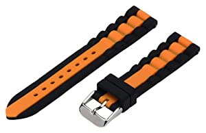 20mm Premium Silicone Striped Black / Orange - Easily Interchangeable Replacement Watch Band / Strap - Fits All Watches!!!