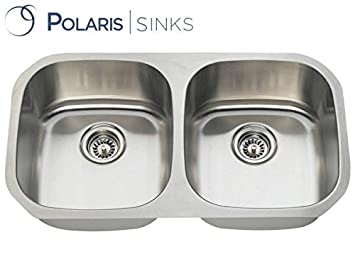 Polaris Sinks P205 18g 50/50 Double Bowl Stainless Steel Sink