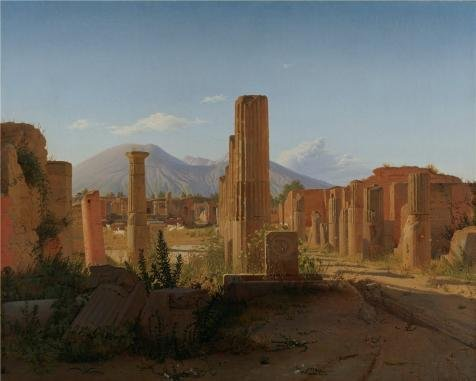 Oil Painting 'The Forum At Pompeii With Vesuvius In The Background,1841 By Christen Kobke' 20 x 25 inch / 51 x 63 cm , on High Definition HD canvas prints, Laundry Room, Nursery And Powder Roo decor