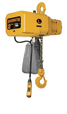 Harrington NER Single Speed Electric Chain Hoist, Three Phase, Hook Mount