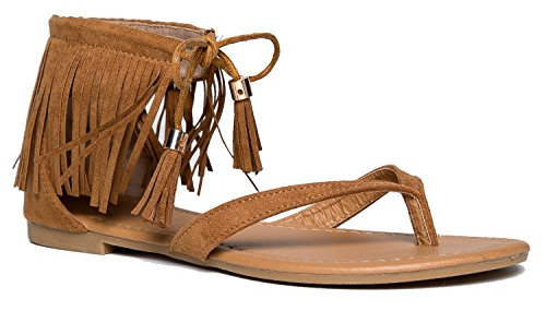 Ruffle Women's Fringe Lace Up Gladiator Thong Flat Sandals- Casual Dress Low Flat Heel- Great Comfort & Style- Black, Tan, Taupe