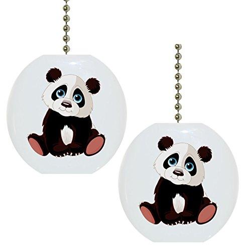 Set of 2 Baby Panda Animal Ceramic Fan Pulls (Fan Pull Panda compare prices)