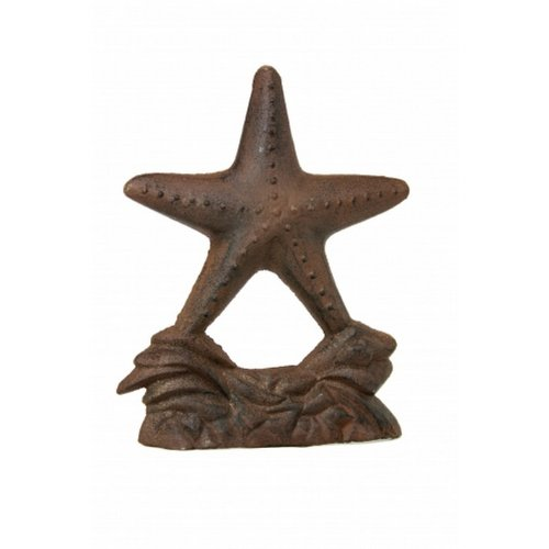 "Rustic Cast Iron Starfish Door Stop 11"" - Vintage Nautical Decor - Beach Living Room Decorating Ideas - Beach Bedroom Decorating"