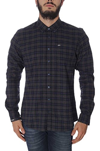 Camicia Uomo Flannel Check B/D Sun68 SH020 5007 Verde Inglese/Navy, M MainApps