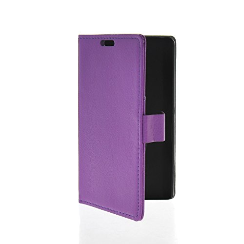 XIANGAO Litchi Skin Flip Leather Wallet Card Slot Pouch Stand Case Cover for Sony Xperia Z2A Purple