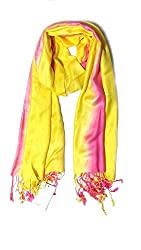 Anuze Fashions Tie Dye Hot Pink & Yellow Coloured Design Stole