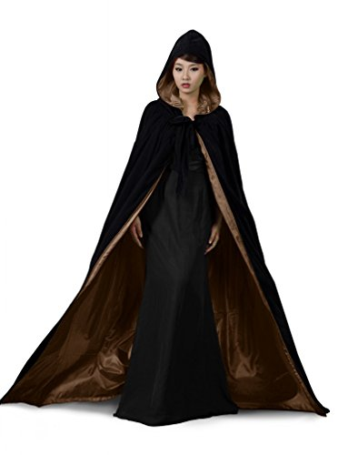 PingFeng Halloween Wedding Cloak Black Velvet Hooded Cape Brown Satin Wicca SCA