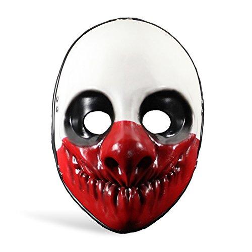 Payday 2 - Maschera di Wolf da svaligiatore di banche - Accessorio per costume - Maschera da clown dal gioco d'azione - Vinile