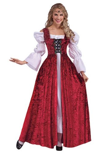Bristol Novelty White/Red Medieval Lace Up Gown Adult Costumes - Women's - One Size