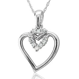 10k White Gold Heart Diamond Pendant Necklace (HI, I, 0.10 carat)
