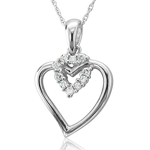 10k White Gold Heart Diamond Pendant Necklace (HI, I, 0.10 carat)