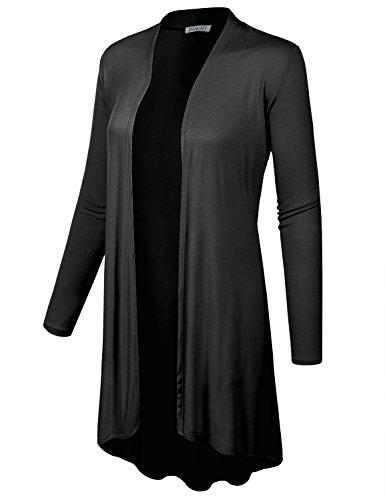 BIADANI Women Long Sleeve Classic Lightweight Open Front Jersey Cardigan Black X-Large
