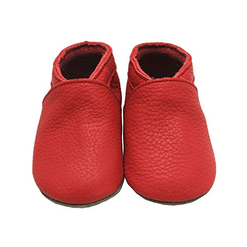Mejale Baby Boy Shoes Soft Soled Leather Moccasins Heart Infant Toddler Pre-walker(18-24 months,red)
