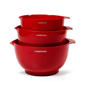 Farberware Classic Mixing Bowls, Red, Set of 3 by Farberware