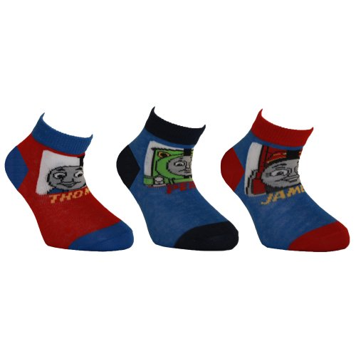 Baby Boys Thomas The Tank Engine And Friends Socks (Pack Of 3) (Us Shoe 4-6 (Age: 1-2 Years)) (Blue/Red) front-816111