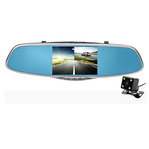 """Carsun Full HD 1080P with 5"""" IPS Screen, Dual Lens Car Camera,Rearview Mirror Design,Reverse Parking System"""