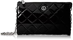 Armani Jeans V4 Quilted Patent Crossbody Bag, Black, One Size