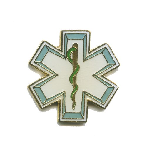 EMT Star of Life Rettungsdienst Äskulapstab Metall Button Pin Pins Anstecker 500