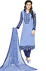 ShivFab Present All New Formal Wear Embroidered Blue Color Dress Meterial.(COTTON DRESS) ANGROOP DAIRYMILK VOL_10