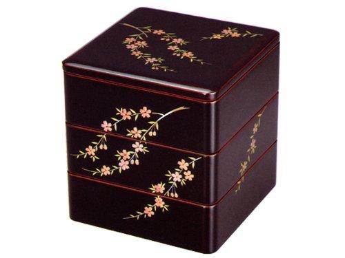 【会津塗】木製 6寸 溜内朱三段重 桜花(手塗)