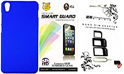 FCS Rubberised Hard Back Case For Lenovo S850 With Sim Adaptor And Tempered Glass