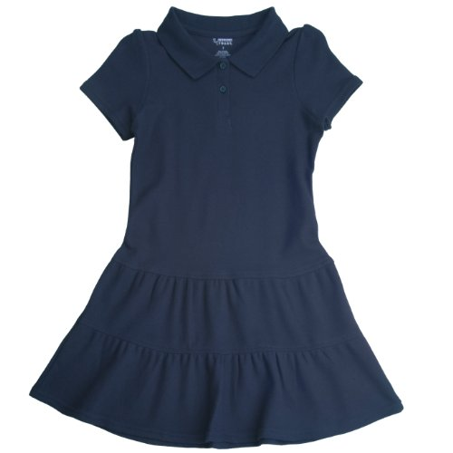 French Toast School Uniforms Ruffled Pique Polo Dress Girls Navy 5 front-929036