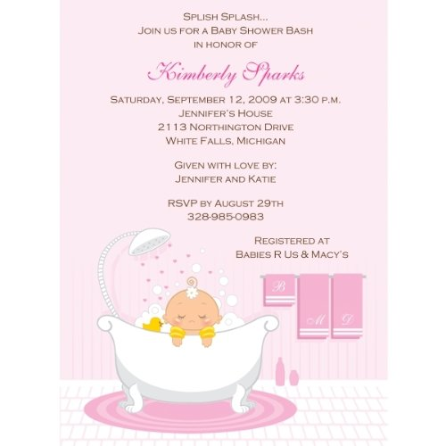 Bath Time Girl Baby Shower Invitations - Set Of 20 front-1011015