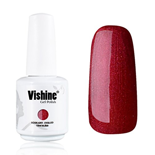 Vishine-Gelpolish-Professional-UV-LED-Soak-Off-Varnish-Color-Gel-Nail-Polish-Manicure-Salon-Shimmer-Red1419