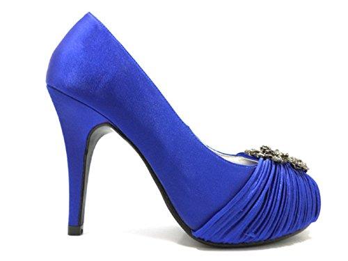 scarpe donna HAUTE COUTURE 36 EU decolte blu raso / strass AT389