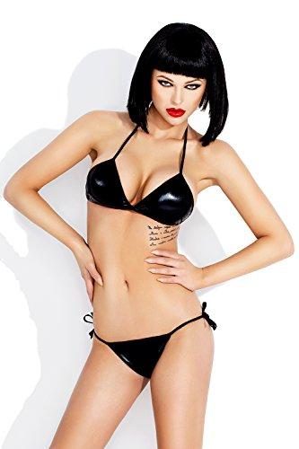 AmazingGirl Set Damen Bikini PVC Neopren Lycra Diving Suit Slip Tauchanzug Bademode Neckholder Schnürung Triangel (l1058 cza)