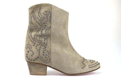 scarpe donna SERAFINI stivaletti beige camoscio / borchie AM774 (40 EU)