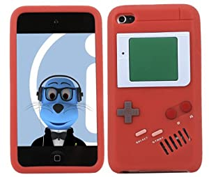 iTALKonline SoftSkin RED RETRO GAMEBOY DESIGN Super Hydro Silicone Protective Armour/Case/Skin/Cover/Shell for Apple iPod Touch 4G 4th Generation
