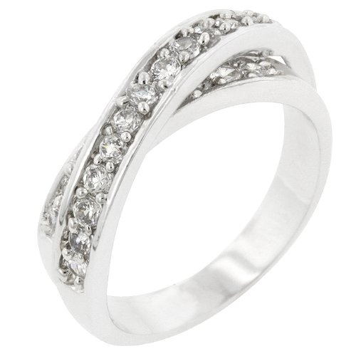 Double Band Round Cubic Zirconia CZ Silver Tone Promise Ring (Size 5,6,7,8,9,10)
