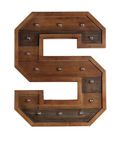 S LED Wooden Letter Board, Brown