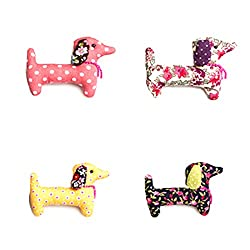 Sass And Belle Dali Dachshund Sausage Dog Vintage Fabric Pin Brooch Badge by RJB Stone