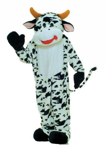 Forum Deluxe Plush Cow Mascot Costume, Black, One Size